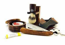 ZEVA Series 8 PC Wooden Men's Straight Edge Razor Shaving Set/Kit in Gift Box