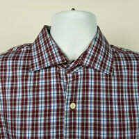 Peter Millar Mens Burgundy Red Blue Check Plaid Dress Button Shirt Size Large L