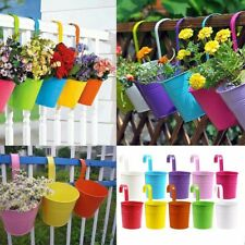 10x Multi Color Metal Iron Flower Pot Hanging Balcony Planter Garden Home Decor