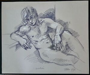 """""""RECLINING MALE NUDE MODEL"""", Drawing by Richard Taddei 2008."""