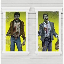 HALLOWEEN ZOMBIE PLASTIC WINDOW MAGIC DECORATIONS PACK 2 SILHOUETTES POSTERS