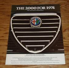 Original 1974 Alfa Romeo 2000 Consumer Information Sales Brochure 74