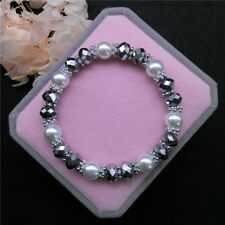 Wholesale Fashion Jewelry 8mm Pearl 8mm Crystal Beads Stretch Bracelet FR14