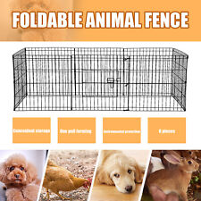 """New listing 24"""" Dog Playpen Crate 8 Panel Fence Pet Play Pen Exercise Puppy Kennel Cage"""