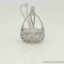 Elegant 14K White Gold Diamond Handbag Charm Pendant   4.3 Grams