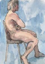 MALE NUDE ACEO Watercolor Print Sitting nude figure Art Card by P.Fleckenstein