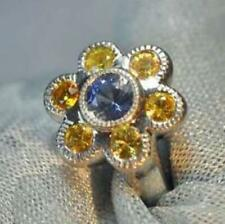 Platinum Blue Sapphire and Yellow Sapphire Ring in a Floral Design