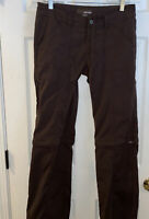 Prana Women's Size 8 Convertible Zip Off  Brown Hiking Draw String Pants 31x31