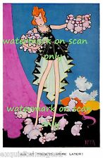 Vintage Art Deco~Lots of Pink Poodle Dog Puppies~Cute~ NEW Large Note Cards
