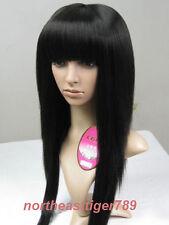 New Fashion Long Black Straight Neat Bangs Women's Lady's Hair Wig Wigs + Cap