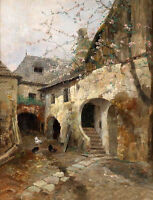 Charming Oil painting Farm courtyard Peach blossom Poultry in landscape canvas