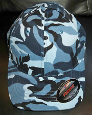 Flexfit Brushed Twill Youth Camo Blue and Navy Cap