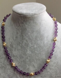 """Estate Jewelry Polished Amethyst Beaded Necklace 14K Yellow Gold 22"""" Long"""