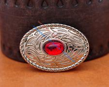 10X Bling Silver Western Cowboy Oval Red Rhinestone Leathercraft Bag Belt Concho