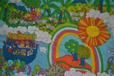vtg 60s 70s PETER MAX era NOAHS ARK Hippy rainbow Art FABRIC BEDSPREAD coverlet