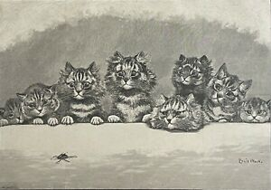 Louis William Wain (1860-1939) Hypnotized Cat Insect Engraving Towards 1880 Cats