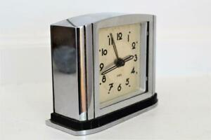 VERY STYLISH 1930s FRENCH ART DECO CHROME Jaz MANTLE ALARM TRAVEL CLOCK