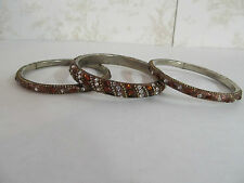 Set of 3 Bangle Bracelets Made in India Bronze in Color with Jewel Adornments