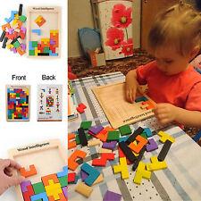 Wooden Tangram Brain Teaser Puzzle Tetris Game Preschool Kids Educational Toys