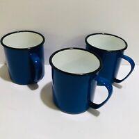 Asahi Blue Enamelware Coffee Mugs Vintage Made in Japan 10 oz