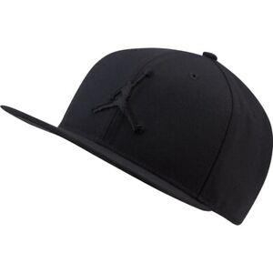 Nike Jordan Pro Jumpan Snapback Flat Brim Mens Hat Black 1Size Baseball Cap