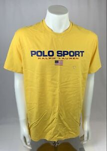 Polo Ralph Lauren Yellow Mens Polo Sport Graphic Logo T-Shirt Size Large New
