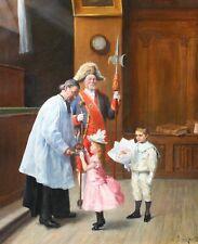 Henri BRISPOT, tableau, religieux, impressionnisme, enfants, église, curé