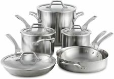 NIB Calphalon Signature Stainless Steel 10 Piece Cookware Set