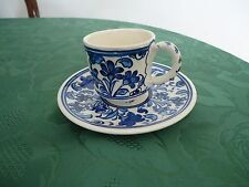 HAND PAINTED designer  turkish blue and white Coffee Cup & Saucer