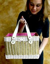 RARE Kate Spade Havana GOLD WICKER Straw lawn chair Quinn Picnic Basket Purse