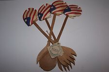RARE 4 Pc. 1995 Bobbo Inc. Hand Carved American Flag Wooden Fish Salad Forks