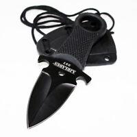 Tactical Black FULL TANG NECK Knife FIXED BLADE MILITARY DAGGER Sheath-AJ327