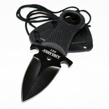 Tactical Black Full Tang Neck Knife Fixed Blade Military Dagger Sheath-Aj327