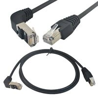 RJ45 Male to Male flame resistant angle Screw Panel Ethernet lan extension cable