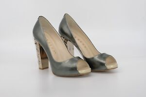 LucyToni Grey Patent Leather Court Peep Toe Shoes and Gold Blocked Heel