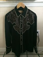 Vintage Scully Mens Western snap Button Down Shirt men's size small  black