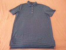 Mens Polo Ralph Lauren RLX Polo Shirt L Large Blue Teal Stripes