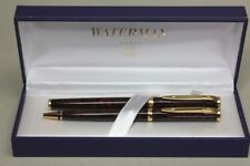 WATERMAN SET FOUNTAIN PEN & BALLPOINT PEN LAQUER BROWN MARMORED with BOX