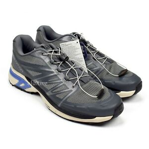 NWT Salomon XT-Wings 2 Advanced Trail Hiking Sneakers Silver Blue 12 AUTHENTIC