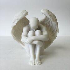 Male Nude Winged Angel Holding Knees Statue Sculpture Figure