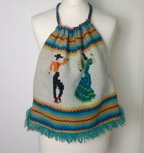 Vintage 60/70s Spain Spanish Dancer Woven Tapestry Boho Drawstring Bag Fringed