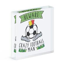 Beware Verrückte Fußball Mann Acryl Foto Block Rahmen Lustig Sport Scherz
