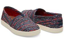 NEW Toms Avalon Blue Multi Denim Slub Slip On Shoes Flats Womens Size 6 US