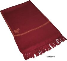 Kashmir Hand Embroidered Pure Natural Wool Wrap Kingri Shawl Stole Maroon-1