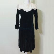 Velvet Dress Vintage 80s Dark Green Lace Bib Collar 6P Talbots Petites Holiday