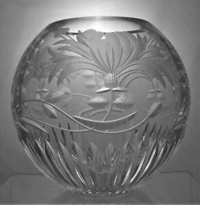 Royal Brierley Scarce Lead Crystal Cut Glass Witches Globe / Bowl Honeysuckle