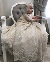Luxury Christening Gown Lace Pearls Baby Girl Baptism Toddler Infant With bonnet