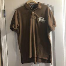 Men's Polo Ralph Lauren 2 Big Ponies Brown Polo Shirt Custom Fit Size LG A4