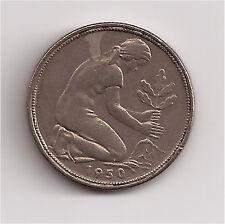 World Coins - Germany 50 Pfennig 1950 J Coin KM # 109