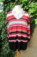 Ladies Black & Red Mixed Colour Striped Top With Collar Size 22 BNWOT